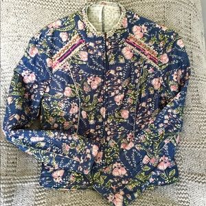 Free People Light Cotton Quilted Jacket Sz L
